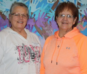 "Bev Holm (left) and Barb Holum (right) are Foster Grandparent volunteers at the Badger school. Sponsored by the Tri-Valley Opportunity Council, Crookston, the Grandparent program ""provides opportunities for volunteers to work with one of our most valuable resources- today's children and youth"". (submitted photo)"